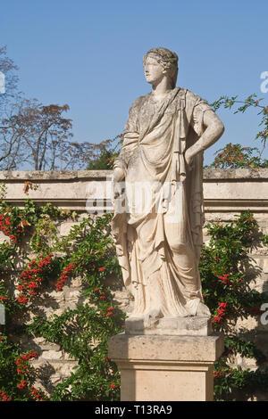 Sculpture in the Park Bagatelle (Parc de Bagatelle) in the Bois de Boulogne. Paris - Stock Photo