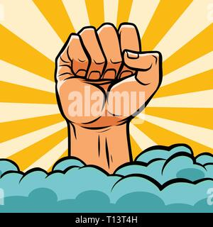 pop art fist above the clouds - Stock Photo