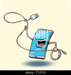 smartphone and usb cord. lasso - Stock Photo