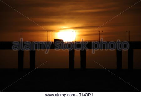 Dundee, UK. 23rd Mar, 2019. Tay Road Bridge at Sunrise, a bright start to a sunny day in Tayside. Credit: Stephen Finn/Alamy Live News - Stock Photo