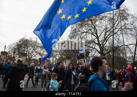 London, UK. 23rd Mar, 2019. People's Vote March. Hundreds of thousands of demonstrators gather in London to demand a so-called 'People's Vote', just six days before Britain's original departure date to leave the EU. The march follows a turbulent week in parliament where prime minister Theresa May was given a narrow extension to pass her Brexit deal, and an e-petition released that has already gained over three million signatures, and the numbers are rapidly rising, calling on the UK government to revoke article 50 and remain in the EU. Credit: Francesca Moore/Alamy Live News - Stock Photo