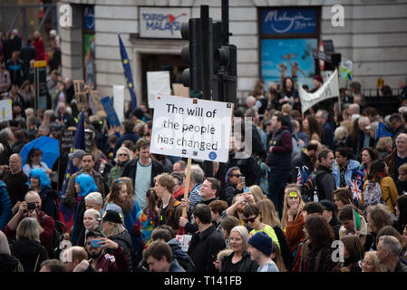 Hundreds of thousands of people march in central London to join the 'Put it to the People March' to make the calls for a People's Vote. People have come from all around the country to show their support. - Stock Photo