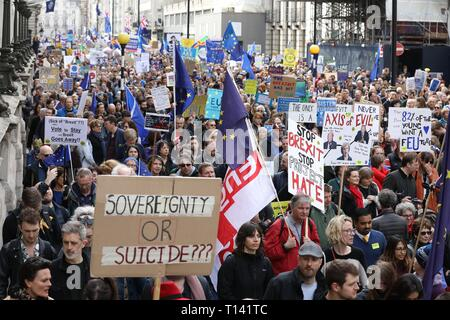 London, UK. 23rd March, 2019. Put It To The People March, London, UK Thousands of Anti-Brexit demonstrators march through London  protesting for a 'People's Vote'. Credit: Jeff Gilbert/Alamy Live News - Stock Photo