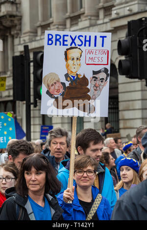 London, UK. 24th Mar, 2019. LONDON 23 March 2019. Demonstrators from the 'Put It To The People' campaign march through Central London demanding a new referendum on Brexit. Credit: David Rowland/One-Image Photography/Alamy Live News. Credit: one-image photography/Alamy Live News - Stock Photo