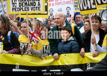 London England, UK. 23rd Mar, 2019. The Peoples Vote anti Brexit March through central London Hundreds of thousands of supporters of a Peoples Vote, a second referendum in the Brexit debate marched in protest throgh central London against the existing policies that will be debated in Parliament this week. Attending the march seen here were Sir Vince Cable Lib. Dem. leader and Carolyn Lucas joint leader of the Green Party. Credit: BRIAN HARRIS/Alamy Live News - Stock Photo