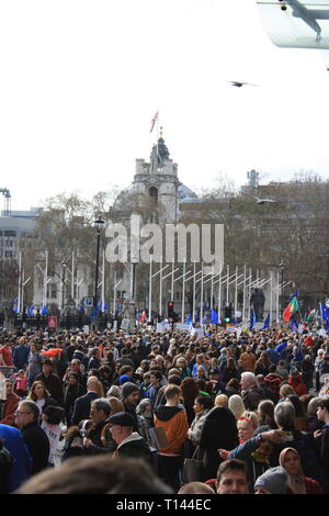 London, UK, 23rd March, 2019. Protesters gather in Parliament Square for the Put it to the People: People's Vote march against Brexit, London, UK. Credit: Helen Garvey/Alamy Live News - Stock Photo