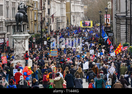 London, UK. 23rd March, 2019. Thousands of protesters join the People's Vote March in London. Credit: Marcin Rogozinski/Alamy Live News - Stock Photo