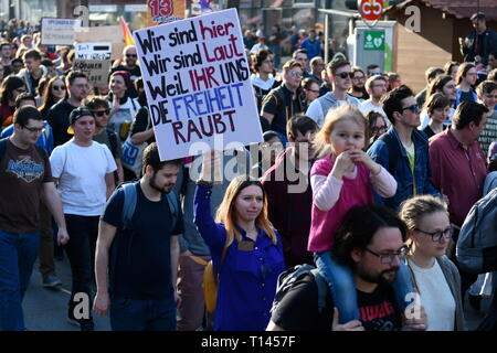 Vienna, Austria. 23.März.2019. EU continues protest day against planned copyright reform and upload filter: Demonstration 'Save Your Internet'. Picture shows a blackboard with the inscription 'we are here, we are loud because you steal our future' Credit: Franz Perc / Alamy Live News