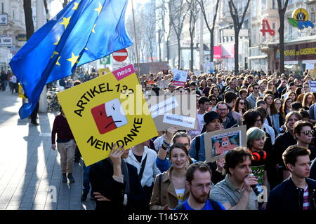 Vienna, Austria. 23.März.2019. EU continues protest day against planned copyright reform and upload filter: Demonstration 'Save Your Internet'. Picture shows a blackboard with the inscription 'Article 13, no thanks' Credit: Franz Perc / Alamy Live News