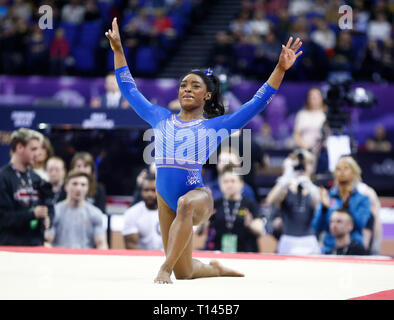 London, UK. 23rd Mar, 2019. London, 23 March, 2019 Simone Biles during The Superstars of Gymnastics at 02 Areana, London, England on 23 Mar 2019. Credit: Action Foto Sport/Alamy Live News - Stock Photo