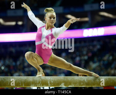 London, UK. 23rd Mar, 2019. London, 23 March, 2019 Halle Hilton of Great Britain on the Women's Beam during The Superstars of Gymnastics at 02 Areana, London, England on 23 Mar 2019. Credit: Action Foto Sport/Alamy Live News - Stock Photo