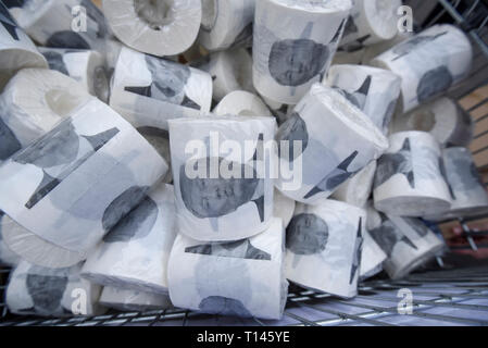 London, UK.  23 March 2019.  Toilet paper bearing a photograph of Donald Trump, President of the United States, on sale in Parliament Square Credit: Stephen Chung / Alamy Live News - Stock Photo