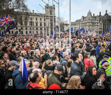 London, UK, 23rd Mar 2019. The 'People's Vote March', also referred to as the 'Put it to the People' march at Parliament Square. The march, attended by hundreds of thousands, makes its way through Central London and ends with speeches by supporters and politicians in Parliament Square, Westminster. Credit: Imageplotter/Alamy Live News - Stock Photo