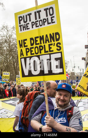 London UK, 23 March, 2019. Close to a million people demonstrated in central London to demand a peoples vote on brexit. David Rowe/ Alamy Live News. - Stock Photo