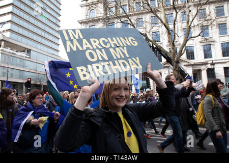 London, UK. 23rd Mar, 2019. Put It To The People march for a Peoples Vote on 23rd March 2019 in London, United Kingdom. With less than one week until the UK is supposed to be leaving the European Union, the final result still hangs in the balance and protesters gathered in their tens of thousands to make political leaders take notice and to give the British public a vote on the final Brexit deal, with the aim to revoke Article 50. Credit: Michael Kemp/Alamy Live News - Stock Photo