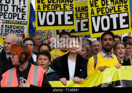 London, UK. 23rd March, 2019. The People's Vote March in London: the protest march was lead by a group including Green Party MP Caroline Lucas and Liberal Democrat leader Vince Cable. Credit: Anna Watson/Alamy Live News - Stock Photo