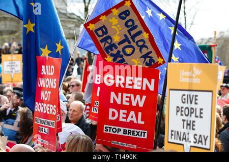London, UK. 23 Mar, 2019. People's Vote March: Hundreds of thousands of pro-EU supporters attend a mass march to Westminster. People are expected to join the march from Park Lane to Parliament Square beginning at noon with speeches commencing at 2.45pm from all political party's. Stop brexit sign ©Paul Lawrenson 2019, Photo Credit: Paul Lawrenson/Alamy Live News - Stock Photo