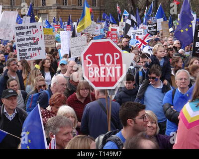 London, UK. 23rd Mar, 2019. Hundreds thousand joined People's Vote March in London, protesting against Brexit, London, UK Credit: Nastia M/Alamy Live News - Stock Photo