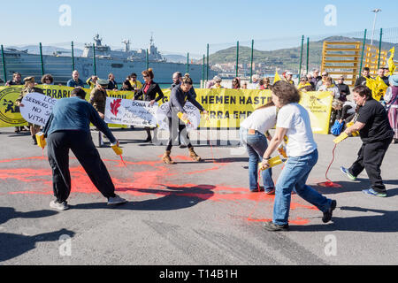 BILBAO, SPAIN - MARCH / 23/2019. People protesting the arrival of the aircraft carrier of the Spanish Navy Juan Carlos I in the port of Bilbao during  - Stock Photo