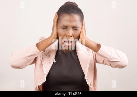 Businesswoman in despair having a stressful situation in her life suffering - Stock Photo