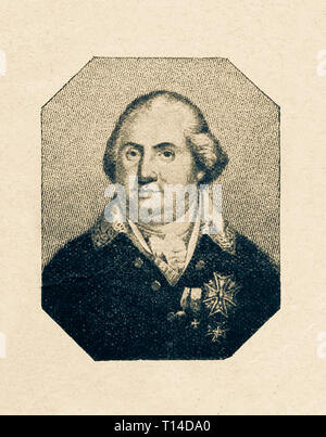 Louis XVIII of France. Digital improved reproduction from Illustrated overview of the life of mankind in the 19th century, 1901 edition, Marx publishing house, St. Petersburg. - Stock Photo