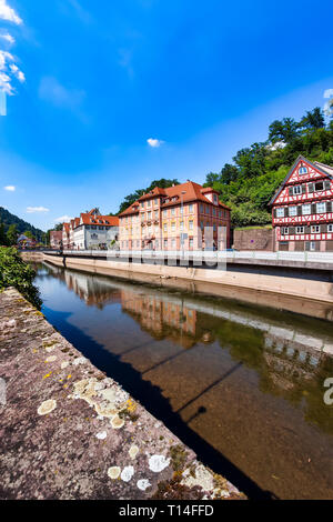 Beautiful half-timbered houses on the Nagold shore in Calw city, Black Forrest - Stock Photo