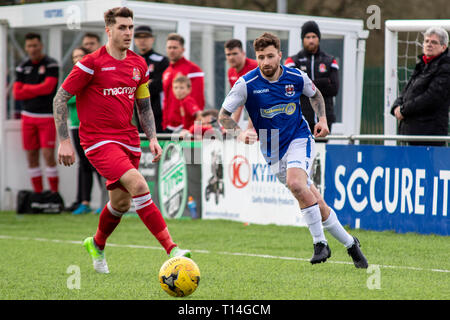 Penybont beat Briton Ferry & Llansawel 2-0 in Welsh Football League Division One at Bryntirion Park. - Stock Photo