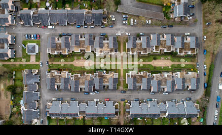 Aerial photography of houses in Nantes city, France - Stock Photo