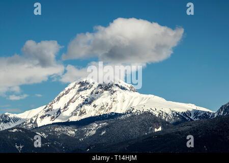 Mount Garibaldi view from sea to sky gondola in squamish british columbia - canada - Stock Photo