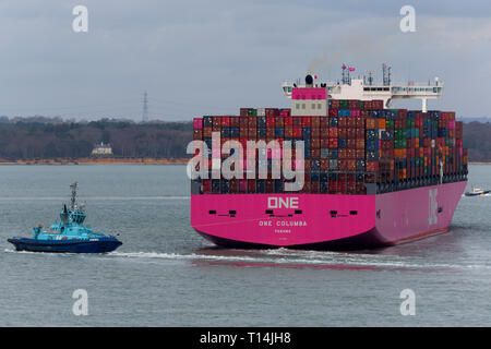 Ship, One,Container, Columbia, Panama, The Solent,heading,to, Southampton,Container Terminal, Cowes, Isle of Wight, Hampshire, England, UK, - Stock Photo
