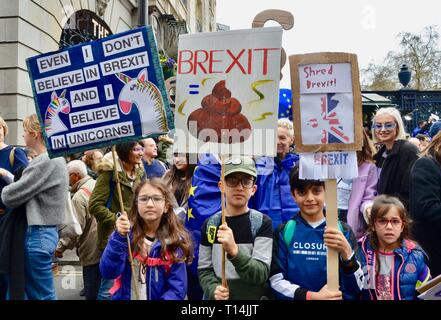 scenes from the anti brexit pro peoples vote march in london 23rd march 2019 group of children with homemade placards - Stock Photo