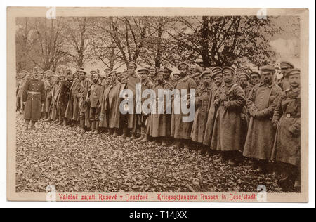 Russian prisoners of war in the Austro-Hungarian POW Camp Josefstadt (now Josefov near Jaroměř in Central Bohemia, Czech Republic) during the First World War depicted in the vintage postcard issued by local publisher Jindřich Kratochvíl in 1918. Courtesy of the Azoor Postcard Collection. - Stock Photo