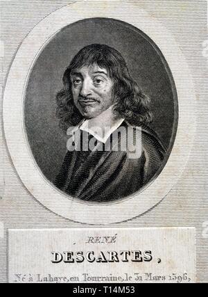 DESCARTES, RENE FILOSOFO, MATEMATICO Y FISICO FRANCES. 1596-1650 GRABADO BIBLIOTECA NACIONAL .MADRID. - Stock Photo