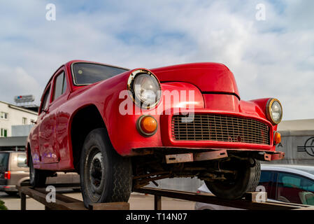 Warsaw Poland. February 18, 2019. Red retro car on the platform. Classic convertible cars in red - Stock Photo
