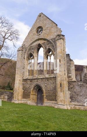 The ruins of Valle Crucis Abbey founded as a Cistercian monastery in 1201 and closed in 1537 during the dissolution of the monasteries - Stock Photo