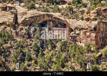bird eye view of Balcony House, Cliff dwellings in Mesa-Verde-National Park, UNESCO world heritage site, Colorado, USA, North America