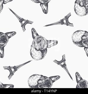 Seamless pattern of hand drawn sketch style bulldogs. Vector illustration isolated on white background. - Stock Photo