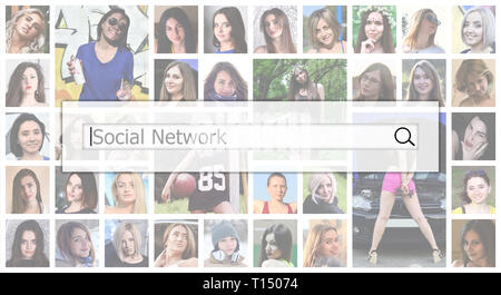 Social network. The text is displayed in the search box on the background of a collage of many square female portraits. The concept of service for dat - Stock Photo