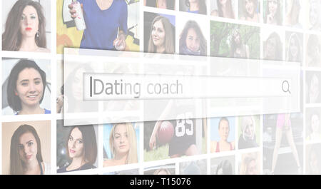 Dating coach. The text is displayed in the search box on the background of a collage of many square female portraits. The concept of service for datin - Stock Photo