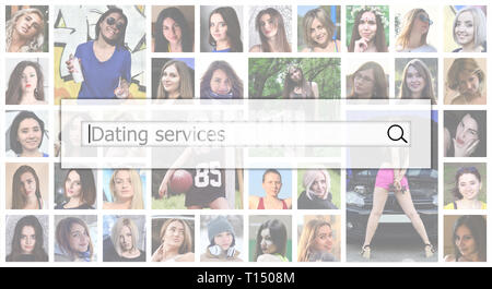 Dating services. The text is displayed in the search box on the background of a collage of many square female portraits. The concept of service for da - Stock Photo