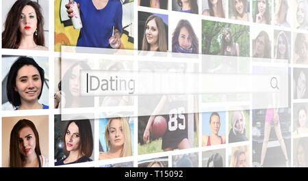 Dating. The text is displayed in the search box on the background of a collage of many square female portraits. The concept of service for dating - Stock Photo
