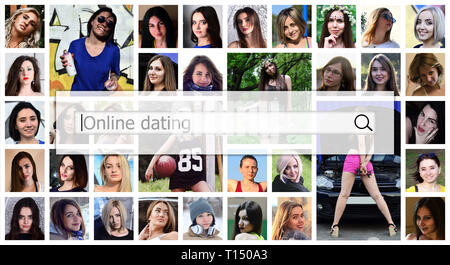 Online dating. The text is displayed in the search box on the background of a collage of many square female portraits. The concept of service for dati - Stock Photo