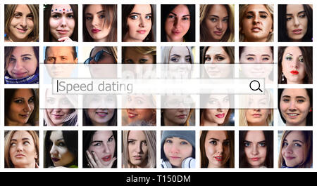 Speed dating. The text is displayed in the search box on the background of a collage of many square female portraits. The concept of service for datin - Stock Photo
