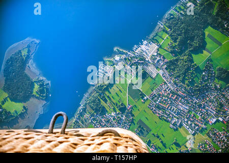 Germany, Bavaria, Chiemgau, Aerial view of Lake Chiemsee, Prien, view from air balloon - Stock Photo