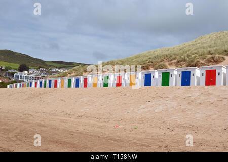 Beach Huts on Woolacombe Beach, Woolacombe Bay, Devon, UK - Stock Photo