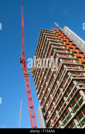 New residential & office space building under construction & crane at Finsbury Tower in 103-105 Bunhill near Old Street London EC1  UK  KATHY DEWITT - Stock Photo