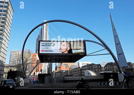 Youtube music app electronic digital advert screen at Old Street roundabout In London EC1 England UK  KATHY DEWITT - Stock Photo