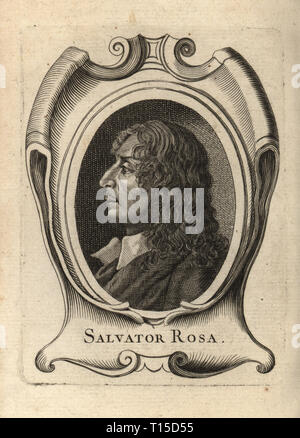 Portrait of Salvator Rosa, Italian Baroque painter, poet, and printmaker, 1615-1673. Copperplate engraving from Antoine-Joseph Dezallier d'Argenville's Abrege de la vie des plus fameux peintres, Lives of the most Famous Artists, de Bure l'Aine, Paris, 1762. - Stock Photo