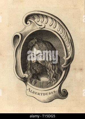 Portrait of Albrecht Durer, German painter, printmaker of the Renassiance 1471-1528. Albert Durer Copperplate engraving after a self portrait by Durer from Antoine-Joseph Dezallier d'Argenville's Abrege de la vie des plus fameux peintres, Lives of the most Famous Artists, de Bure l'Aine, Paris, 1762. - Stock Photo