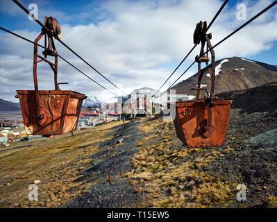 Norway, Spitsbergen, Longyearbyen, old remains of coal mine, historic ropeway conveyor - Stock Photo